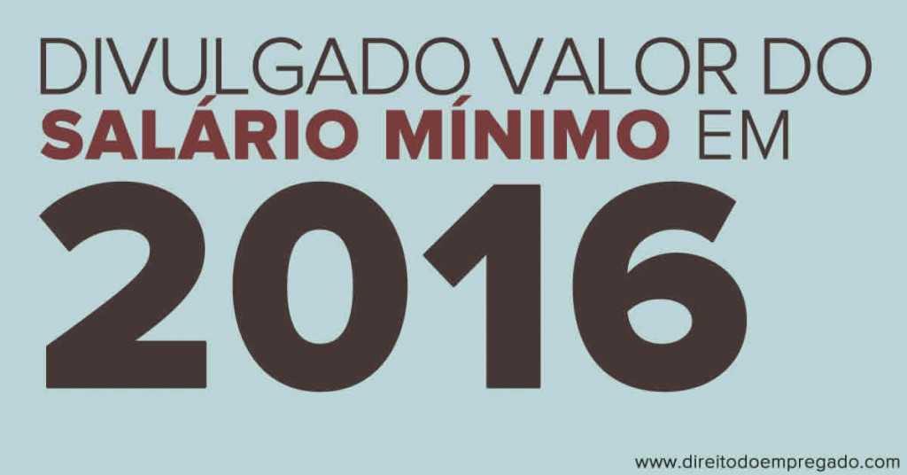 salário mínimo em 2016